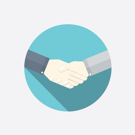 Flat handshake vector illustration. Modern business concept.