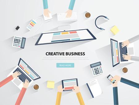 ビジネス職場やオフィス デスク フラット ベクトル図