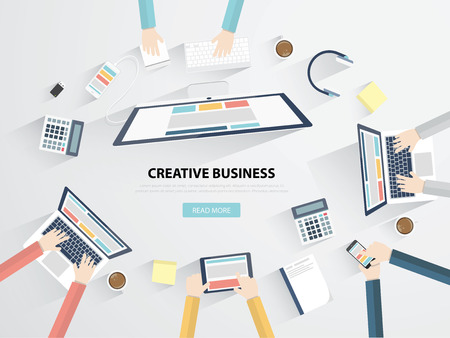 Business workplace and office desk flat vector illustration