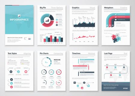 growth: Big set of infographic vector elements and business brochures