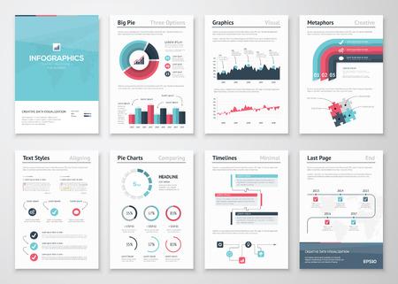 Grote set van infographic vector elementen en zakelijke brochures
