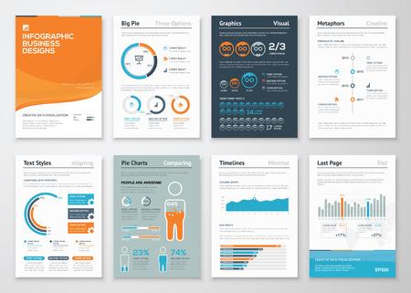 インフォ グラフィック ビジネス要素とベクトルのイラストをデザインします。  イラスト・ベクター素材