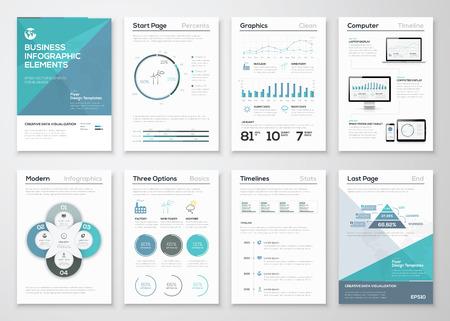 grafica de pastel: Elementos de Infografía de folletos y presentaciones de negocios Vectores