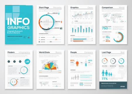 sjabloon: Grote reeks van infographics elementen in de moderne flat zakelijke stijl Stock Illustratie