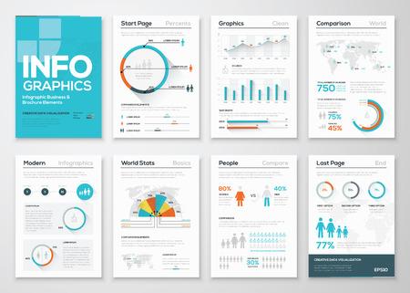 Jogo grande de elementos do infographics em estilo empresarial moderno apartamento