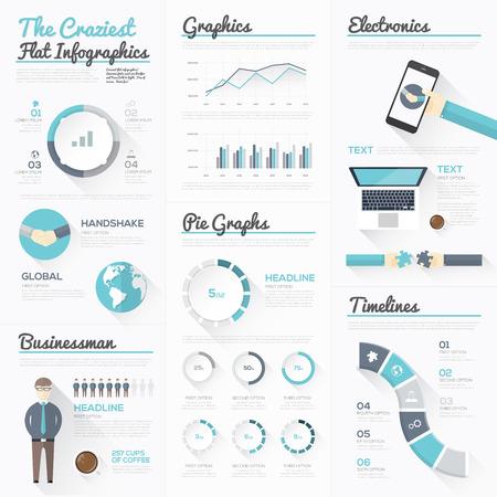 クレイジーなフラット インフォグラフィックスと近代的なビジネス要素