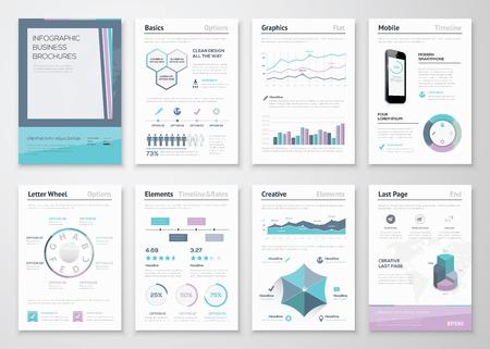 Brochure aziendali infographic per la visualizzazione dei dati aziendali Archivio Fotografico - 35153136
