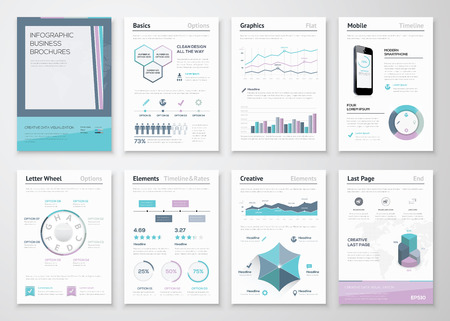 the brochure: Folletos comerciales de Infograf�a de visualizaci�n de datos corporativa Vectores