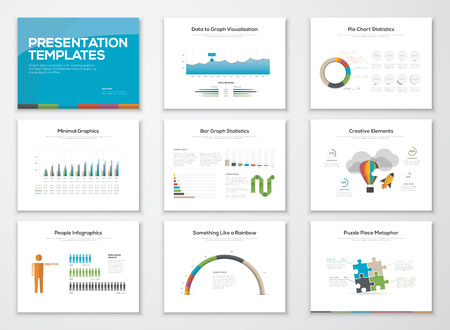 Presentation slide templates and business vector brochures Çizim