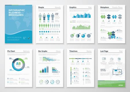 비즈니스 데이터 시각화를위한 인포 그래픽 브로셔 요소 일러스트