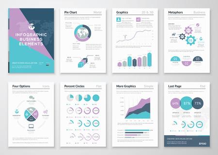 gráfico: Gráficos de negócio em brochura infográfico ilustração do estilo Ilustração