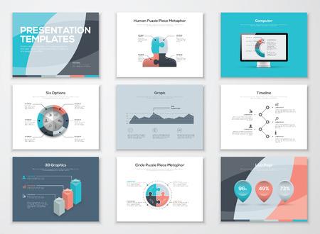 ビジネス プレゼンテーション テンプレートおよびインフォ グラフィックの要素  イラスト・ベクター素材