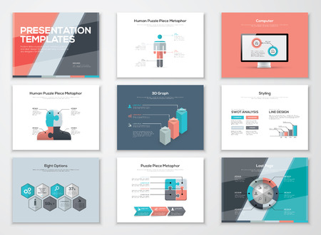 Business presentation brochures and infographic elements Illustration