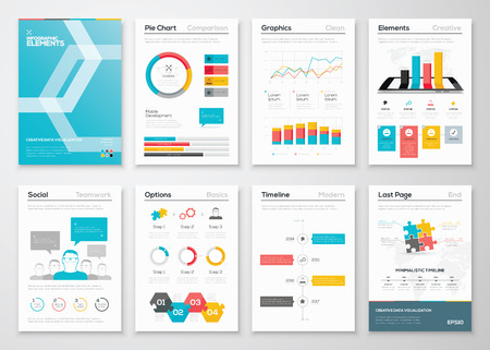 Infographic flyer and brochure designs and web templates vectors