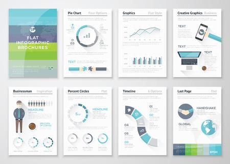 Platte ontwerp brochures en infographic zakelijke elementen Stock Illustratie