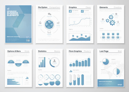 flat background layouts: Infographic business vector elements for corporate brochures