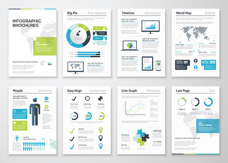 ビジネス データの可視化のためのインフォ グラフィック パンフレット 写真素材 - 35897240