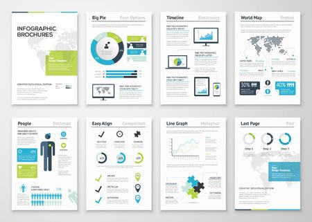 비즈니스 데이터 시각화를위한 인포 그래픽 브로셔 일러스트