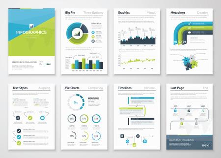 インフォ グラフィック ベクトル要素とビジネス パンフレットの大きなセット  イラスト・ベクター素材