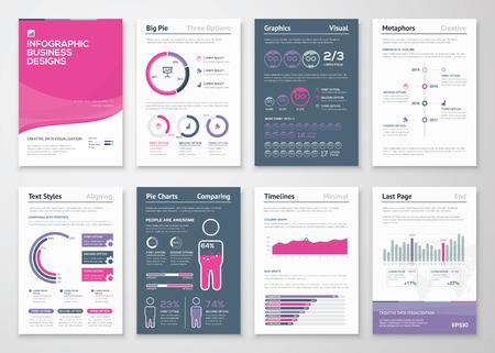 Infographics zakelijke elementen en vector ontwerp illustraties Stock Illustratie