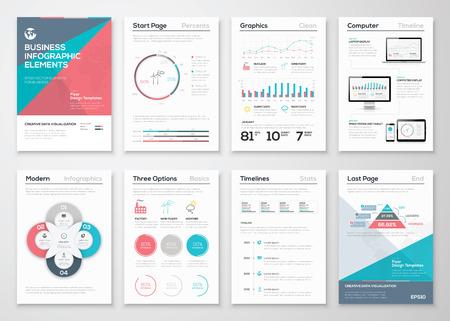 ビジネス パンフレットやプレゼンテーションのためのインフォ グラフィック要素  イラスト・ベクター素材