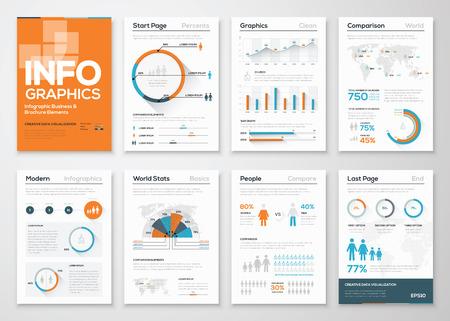 モダンなフラットのビジネス スタイルのインフォ グラフィック要素の大きなセット  イラスト・ベクター素材