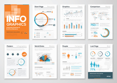 Big set of infographic elements in modern flat business style 向量圖像