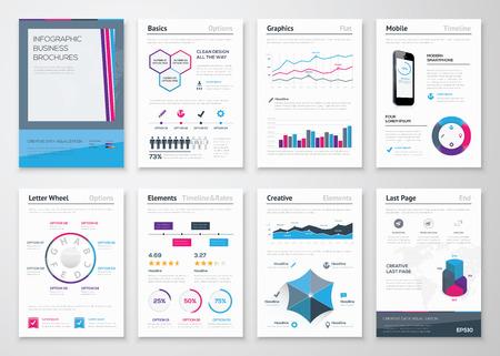 企業データの可視化のためのインフォ グラフィック事業パンフレット  イラスト・ベクター素材
