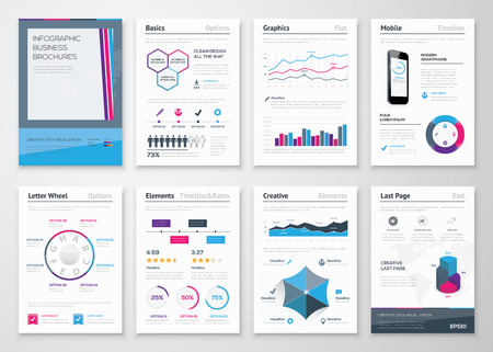 data collection: Infographics business brochures for corporate data visualization