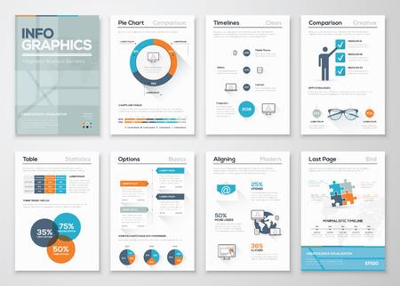 the brochure: Infograf�a modernos concepto del vector. Folletos gr�ficos comerciales.