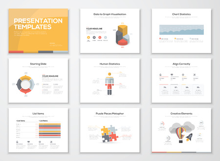 presentation people: Creative infographics presentation templates and brochures Illustration