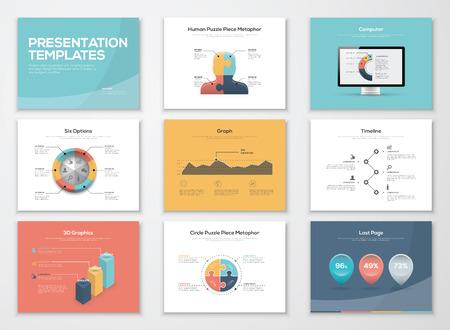 ビジネス プレゼンテーション テンプレートとインフォ グラフィック ベクトル要素