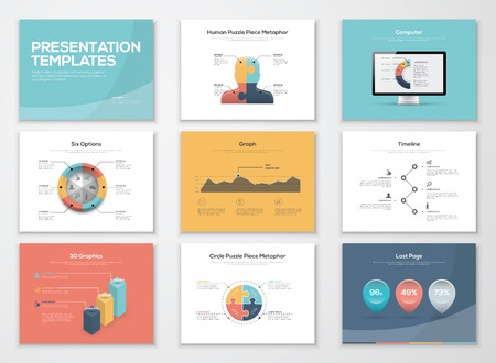 Business presentation templates and infographics vector elements 向量圖像