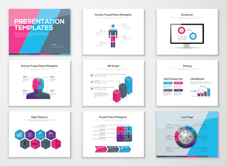 Business presentation brochures and infographics vector elements Ilustração