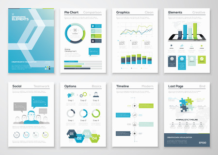 information management: Infographics flyer and brochure designs and web templates vector