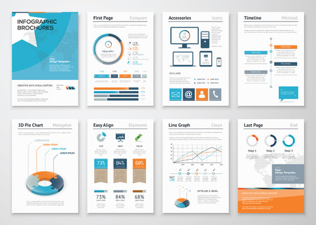 info chart: Collection Infographic elements for business brochures Illustration