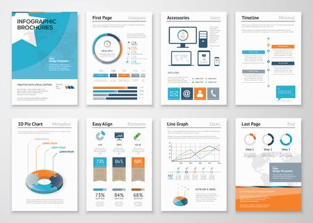 folleto: Elementos Colecci�n de Infograf�a de los folletos del negocio Vectores