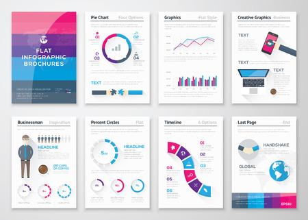 フラットなデザインのパンフレットやインフォ グラフィック ビジネス要素