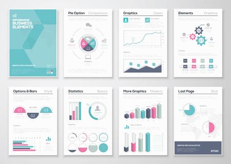 kit design: Infographics business vector elements for corporate brochures Illustration