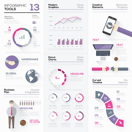 Infographic tools collection and vector graphic elements
