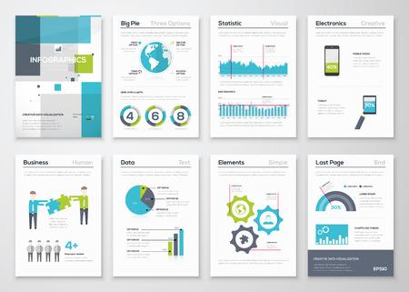 インフォ グラフィック パンフレット要素とビジネス グラフィックスのセット