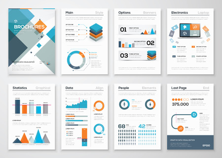 Modern business brochures and infographic vector elements Illustration