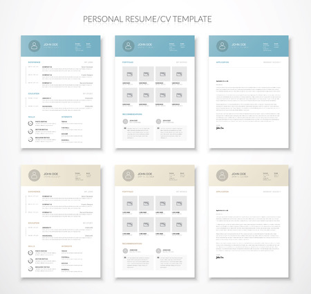 Personal business curriculum vitae and resume in two colors Illustration