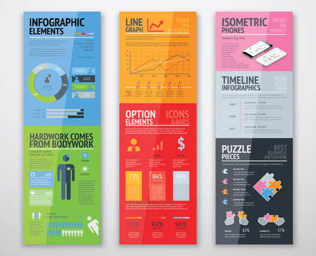 demography: Colorful infographics in well arranged templates ready for use