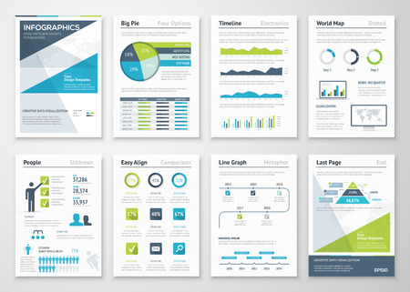 visual information: Green and blue modern infographic brochure vector elements