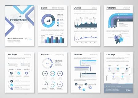Grote verzameling van infographic elementen en zakelijke brochures Stock Illustratie