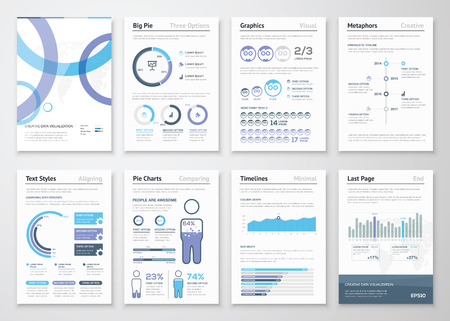 Collection of business brochures and infographic vector elements Illustration