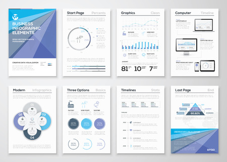 データ可視化パンフレットやインフォ グラフィックのビジネス テンプレート