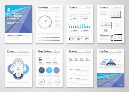 Data visualisatie brochures en infographic zakelijke sjablonen