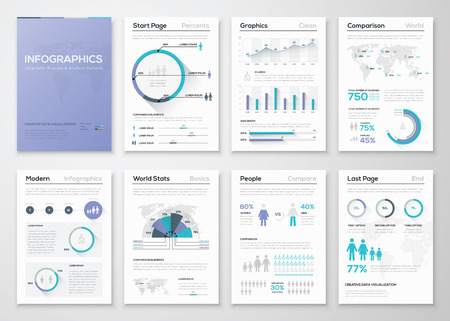 set design: Big collection of infographic business brochures and graphics